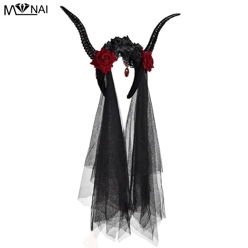 Gothic Lolita Bulls Horns Headband Accessories Witch Demon Costume Accs 12cm