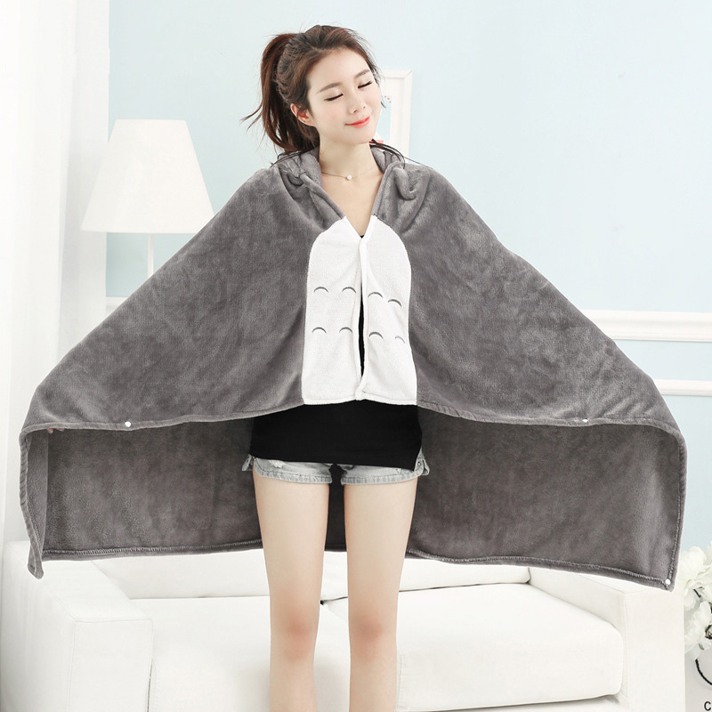 Kawaii Gray Totoro Hooded Blanket
