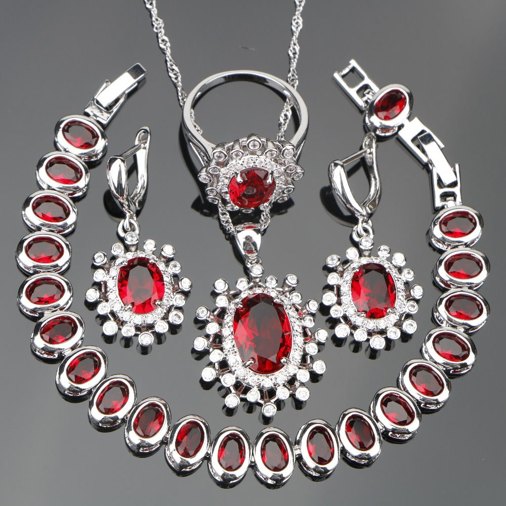 Women Red Zircon Silver 925 Costume Bridal Jewelry Sets Earrings/Necklace/Rings Set With White Stones Jewelery Christmas Box
