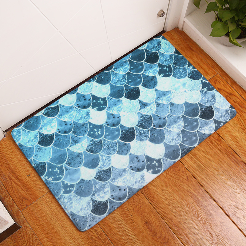 CAMMITEVER HD Printed Sea Mermaid Scales Waves Rug Non-Slip Bath Mat Absorbent Home Decor Doormat Bedroom Flannel Area Floor Mat