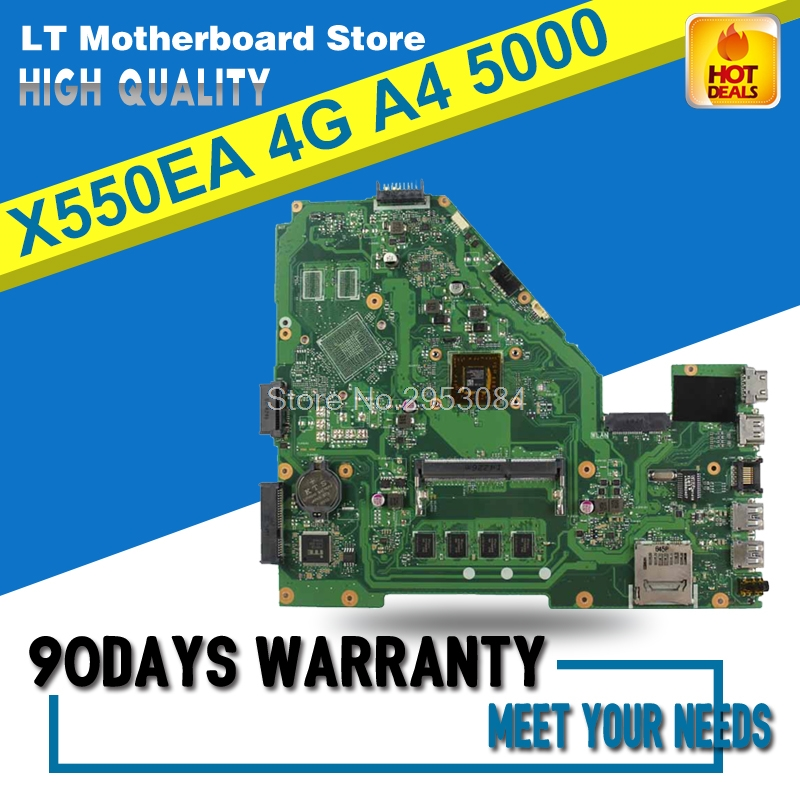 X550EA Mainboard Original X550EP X550E X552E X552EA Laptop Motherboard A4-5000 Processor 4G memory on board Tested Well S-4 d05021b maine board fittings of a machine tested well original