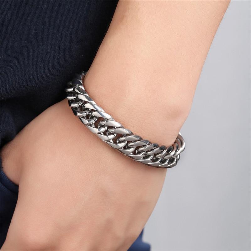 Men's Bracelet Good Quality Stainless Steel Mens Bracelet Men Male Cuban Link Chain On Hand Man's Chain Bracelets High Polished