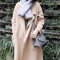 Woman's Thicken White Cashmere Palto Woolen Maxi Cardigan Down Coat Autumn Long Warm Jacket Manteau Femmee Korean Cloak Winter