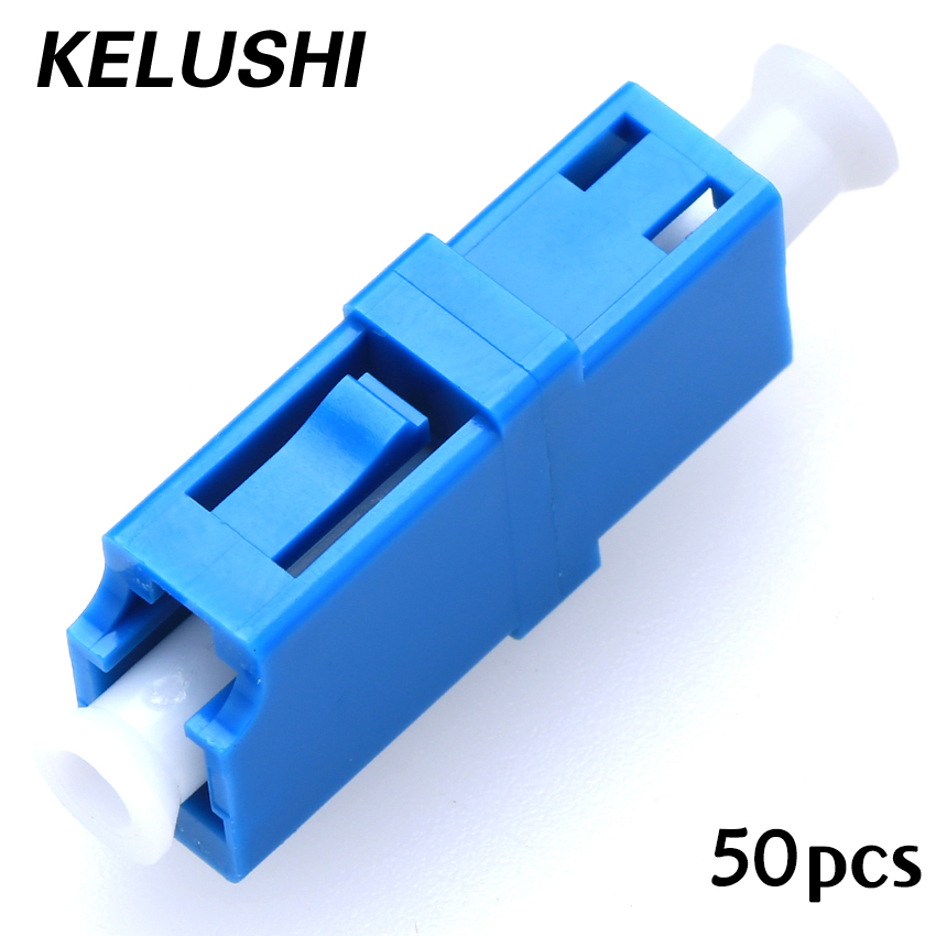 Free Shipping 50pcs/lot LC/UPC Singlemode Simplex Fiber Optic Adapter Flange LC-LC Connector KELUSHI ...