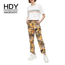 HDY Haoduoyi Femme Summer Stylish Casual Tops Girls Simple Cute Contrast Colour Stripe Printed Round Neck Short Sleeves T-shirts