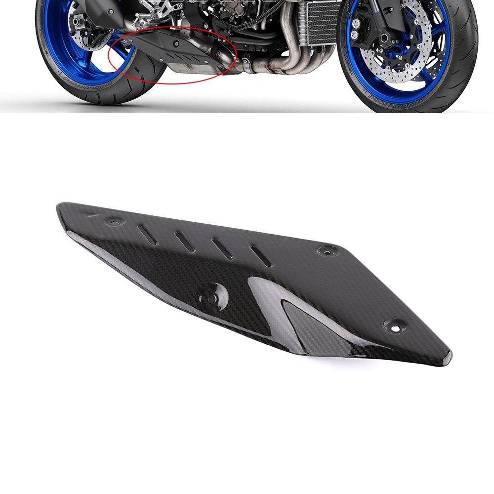 Moto Accessoires En Fiber De Carbone D'échappement Silencieux Tuyau Tube Chaleur Bouclier Garde Couverture Pour Yamaha MT10 MT 10 2016 2017 2018