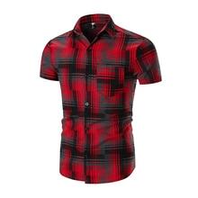 New Shirt Men Short Sleeve Brand 2018 Hot Sale Mens Stripe Lattice Dress Shirts Hawaiian Camisa Social Masculina XXL