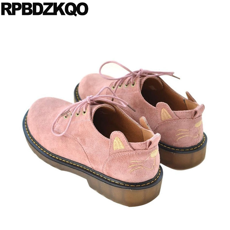 Round Toe Suede Vintage Women Oxfords Shoes Pink 2018 Lace Up British Style Designer Animal Print Flats Italian Brown Kawaii foreada genuine leather shoes women flats round toe lace up oxfords shoes real leather casual boat shoes brown pink size 34 40