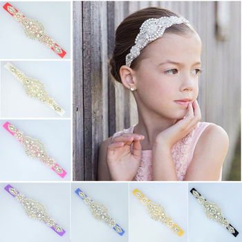 Sweet Princess Flower Girls Beading Crystal Party Headbands Party Wedding Headbands Head Wears with Rhinestone