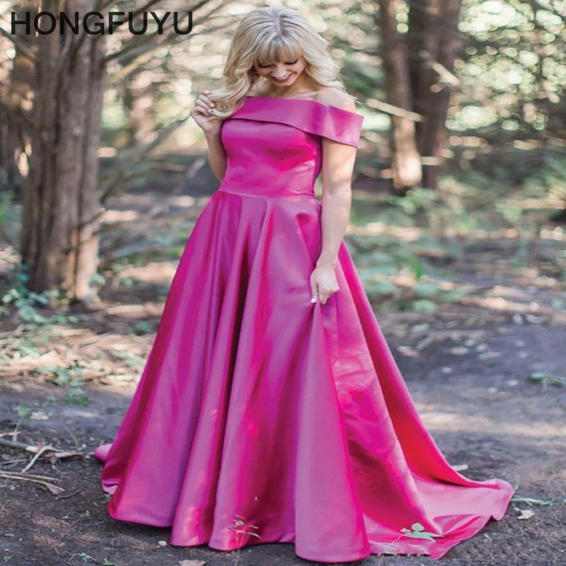 Vestidos De Festa Simple A Line Boat Neck Long   Prom     Dresses   2019 Sleeveless Lace Up Floor Length Satin   Prom     Dress   HFY102301