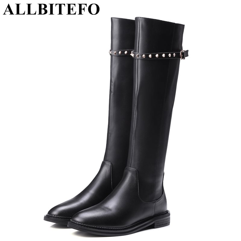 ALLBITEFO new fashion brand genuine leather+pu thick heel women knee high boots rivets low-heeled snow boots girls boots allbitefo plus size 34 42 genuine leather pointed toe low heeled women boots fashion brand thick heel ankle boots girls boots