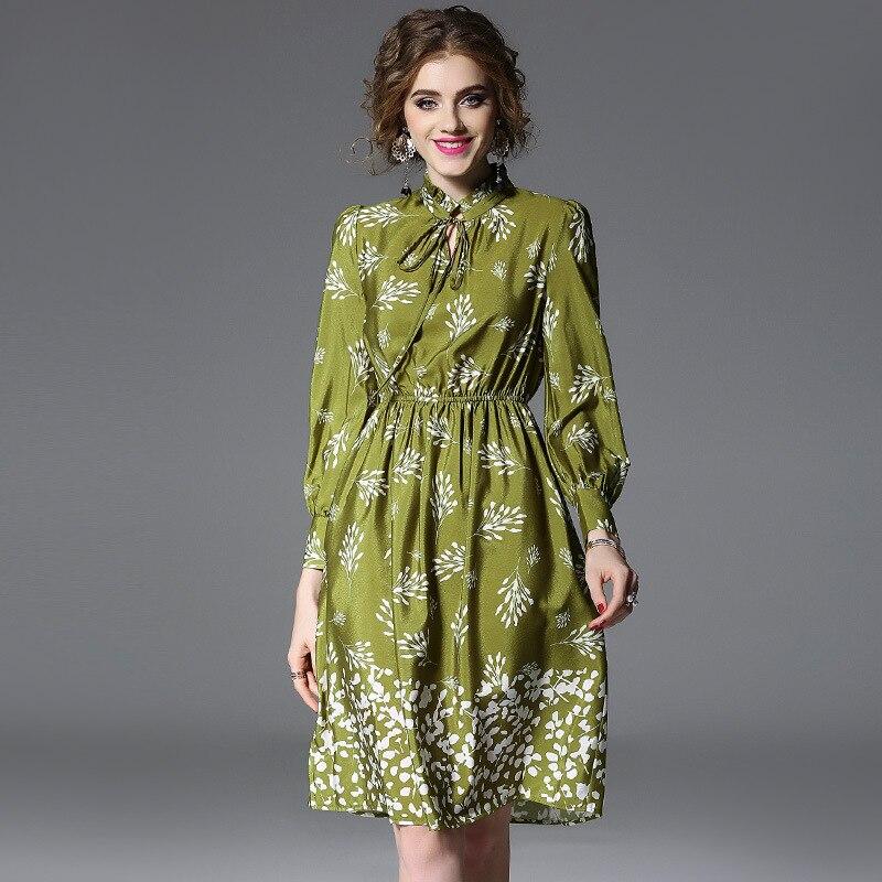 High quality 2018 NEW spring summer Long sleeve defined waist stand collar floral dress women vestidos