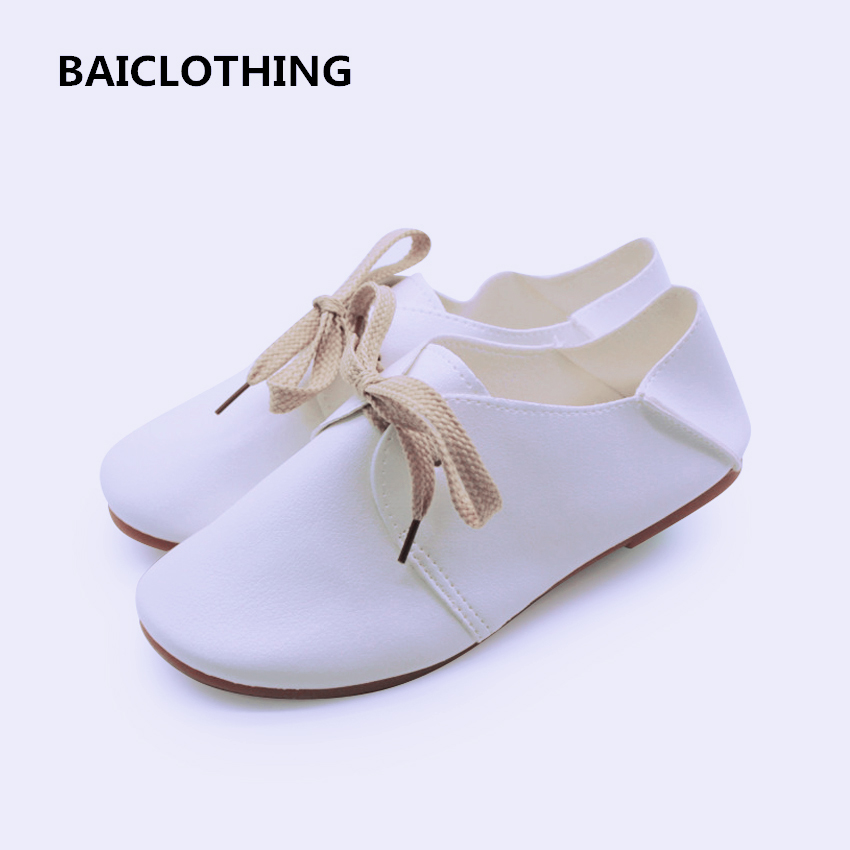 BAICLOTHING zapatos de mujer women pu leather flat shoes female lace up spring & summer flats lady cute retro casual white shoes удлинитель panasonic wmtc0404 2bg res x tendia