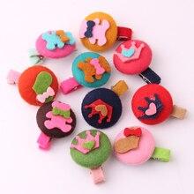 ON SALE fashion small hair pin for kid cute fabrics cartoon round button charms clips crown heart bear barretts 2 pieces