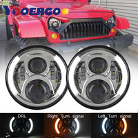 For lada niva 4x4 7Inch Round Led Headlight Halo Ring Angel Eye DRL Amber Turn Signal Projector Headlamp For Jeep Wrangler