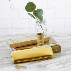 Metalowy ołówek przypadku marki pudełko retro mosiądz piórnik luksusowe szkolne papiernicze miły prezent urodzinowy