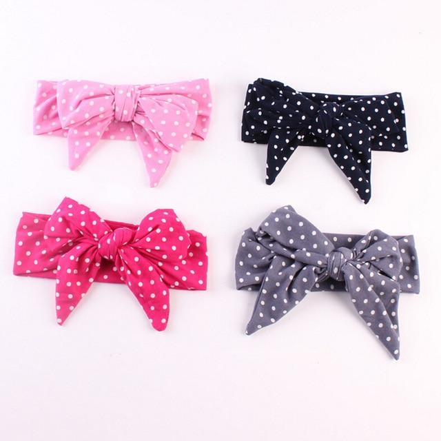10 PCS Lot Kids Flower Big Bow Polka Dot Hairband Elastic Headband Newborn  Turban Knot Head Wrap Floral Hair Band Accessories 974bda1e324