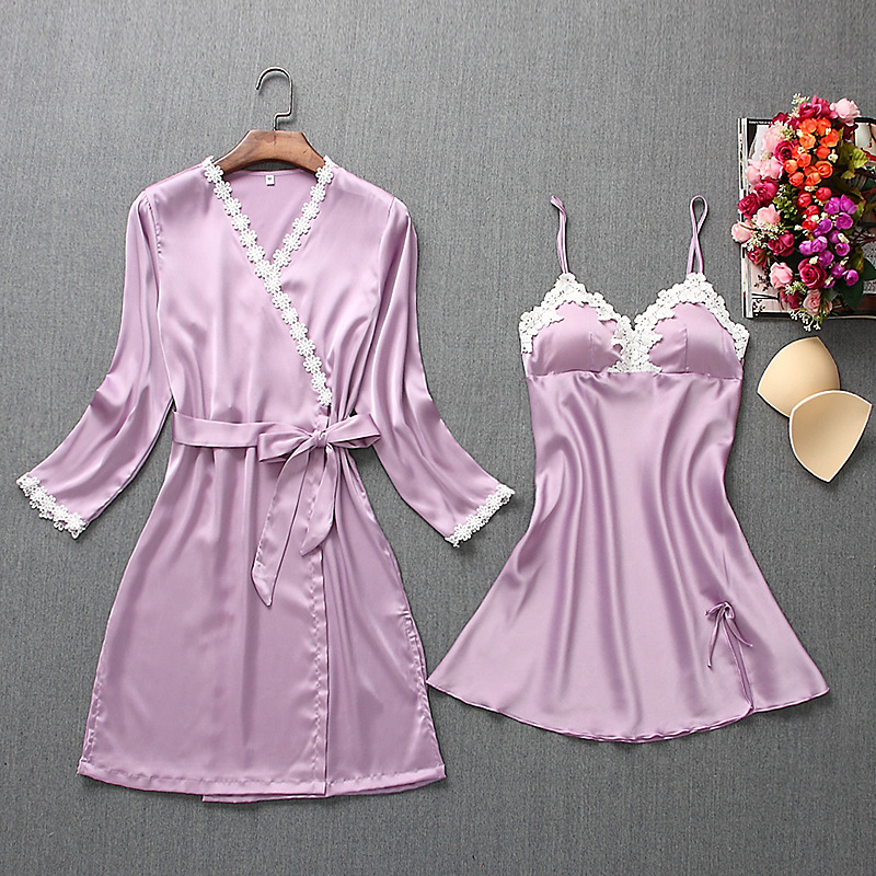 Fiklyc brand womens robe & gown sets mini nightdress + long sleeve bathrobe two-pieces female sexy floral lingerie nighties HOT 3