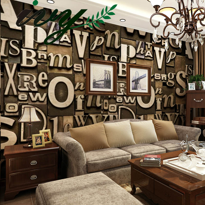 Ivy morden letter 3d wallpaper vintage style wall paper for Antique wallpaper mural