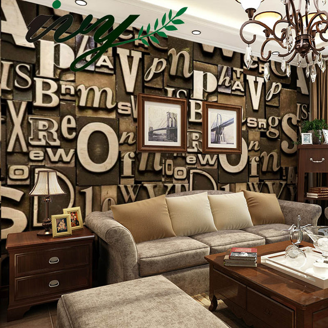 Ivy morden letter 3d wallpaper vintage style wall paper for Living room 6 letters