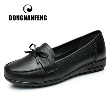 купить DONGNANFENG Women Female Old Mother Shoes Flats Loafers Casual Slip On Cow Genuine Leather PU Bow Round Toe Spring 34-43 QBL-922 дешево