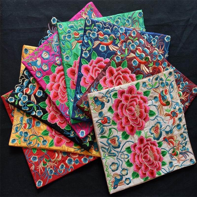 Народная Стиль ручной вышивки ткань Pad пион Цветочная вышивка длиной 25 см ...