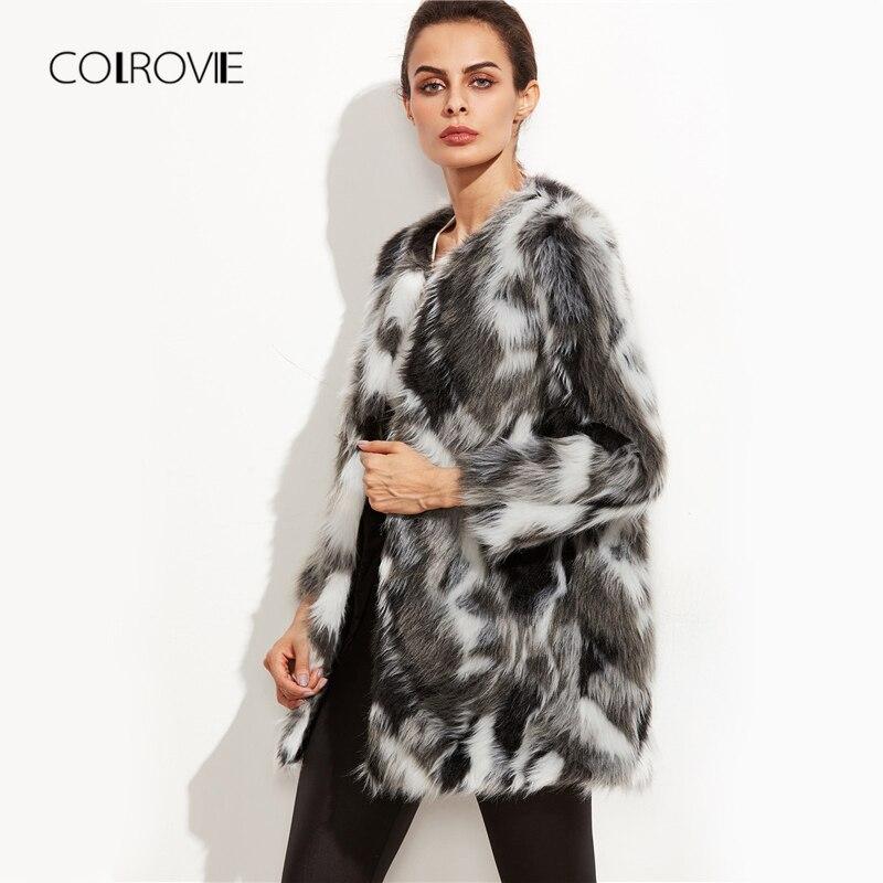 COLROVIE fausse fourrure manteau flou femmes ColorBlock ouvert avant élégant automne manteaux mode hiver à manches longues OL travail manteau survêtement - 2
