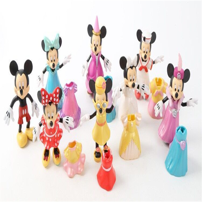 new 1setlot 7cm pvc minnie mickey pluto duck goofy mouse change doll decorations christmas gift boy toys play house - Mouse Decorations Christmas