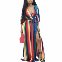 Colorful Rainbow Backless Striped Dress 3/4 Sleeve Side Slit Long Dress Women Off Shoulder Party Shirt Dresses