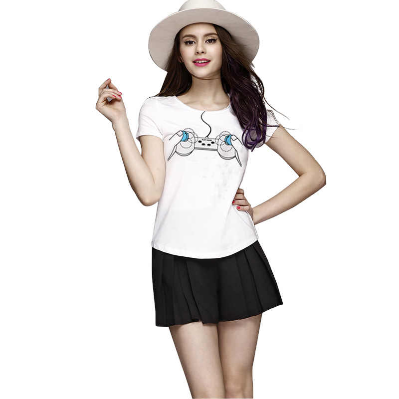 Gamepad drukuj T koszula kobiety z krótkim rękawem O szyi luźny biały t-shirt 2020 lato kobiety Tee Shirt topy Camisetas Mujer