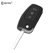 KEYYOU 3 Button Flip Folding Remote Fob Cover Uncut Car Blank Key Shell for Ford Focus Fiesta C Max K