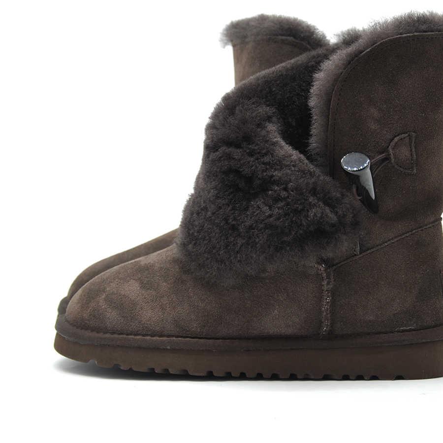 Ücretsiz kargo yeni varış 100% gerçek kürk klasik Mujer Botas su geçirmez hakiki inek derisi deri kar botları kış ayakkabı