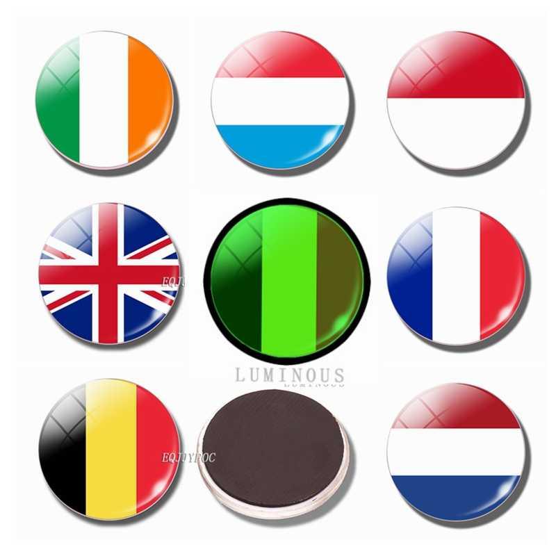 Aydınlık buzdolabı mıknatısı bayrağı 30MM cam buzdolabı mıknatısı İngiltere, İrlanda, hollanda, belçika, lüksemburg, fransa, Monaco