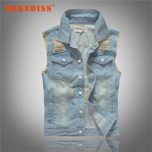 Brand New Jeans Jacket Light Denim Waistcoat Men Washed Destroyed Mens Jean Vest Pockets Patchwork Hip Hop Mens Clothing G300