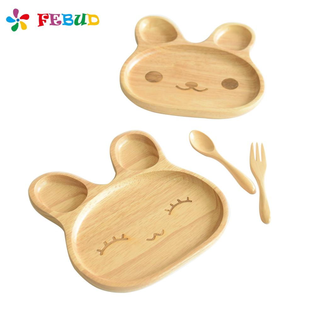 Baby Feeding Plate Cartoon Cute Innovative Rabbit-shaped Tray Natural Bamboo Baby Feeding Dessert Plate BPA Free