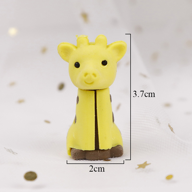 3pcs Cute Kawaii Creative Animal Giraffe Design Drawing Pencil Eraser Office Supplies School Stationery For Kids Toys Prize Gift In From