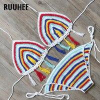 RUUHEE Brand Bikini Swimwear Women Swimsuit Sexy Crochet Bikini Set 2017 Halter Bathing Suit Multi Coloer