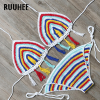 RUUHEE Brand Bikini Swimwear Women Swimsuit Sexy Crochet Bikini Set 2017 Halter Bathing Suit Multi Coloer