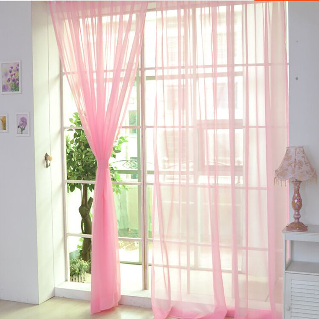1 PCS Pure Color Tulle Door Window Curtain Drape Panel Sheer Scarf Valances  For Living Room Part 63