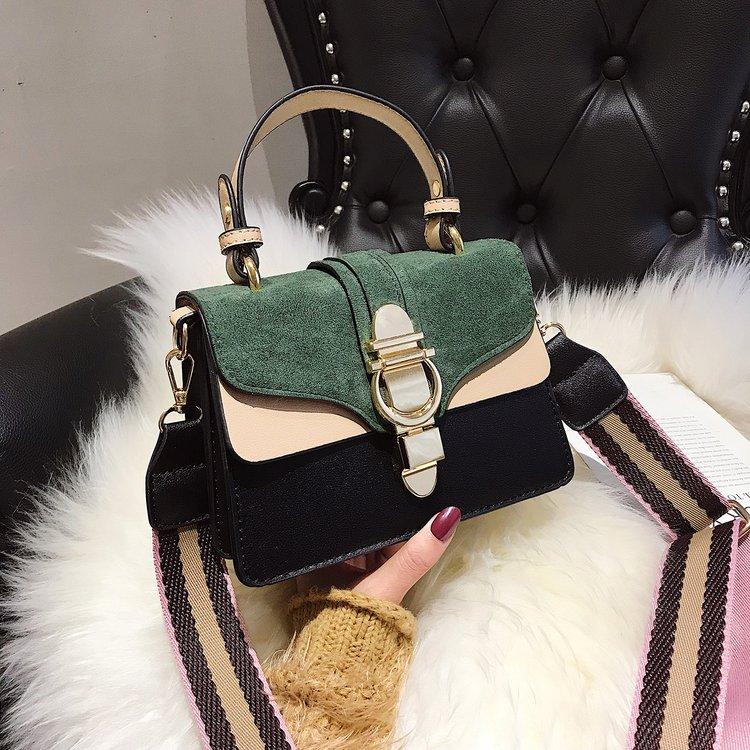 GREEN New Women Leather Handbags Luxury Contrast Color Shoulder Bag