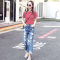 New Designer Denim Women 2016 High Waist Ripped Jeans for Women wide Leg pants Jeans Woman Summer Jean Female Femme S2275