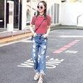 Nuevas Mujeres de Mezclilla de Diseñador 2016 de La Alta Cintura Ripped Jeans para mujeres pantalón de Pierna ancha Jeans Mujer Verano Jean Femme Hembra S2275