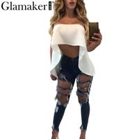 Glamaker Ruffle White Blouse Shirt Women Tops Off Shoulder Crop Top Sexy Summer Beach Blouse Chemise