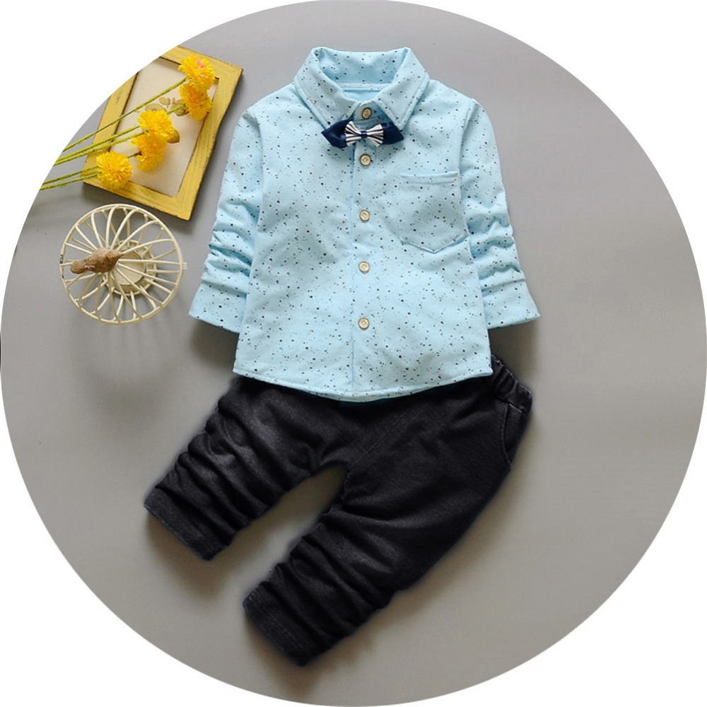 New 2pcs Baby Boy Gentleman Clothing sets Suit Newborn Baby Bow Tie Dot t-shirt + jeans pants set Cotton baby clothes Outfits
