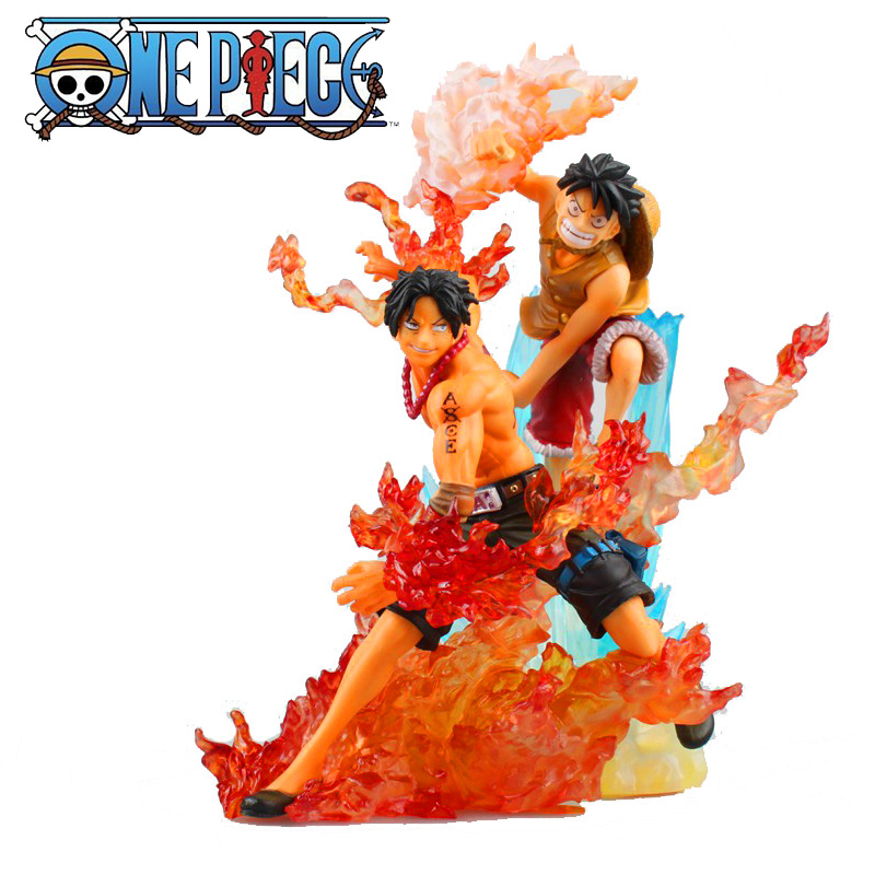 15-17CM <font><b>ONE</b></font> <font><b>PIECE</b></font> <font><b>Luffy</b></font> Ace Fight Scenes Burn The Fruit Sanji Shanks Sabo Anime Figure Action Toys PVC Model With Original Box image