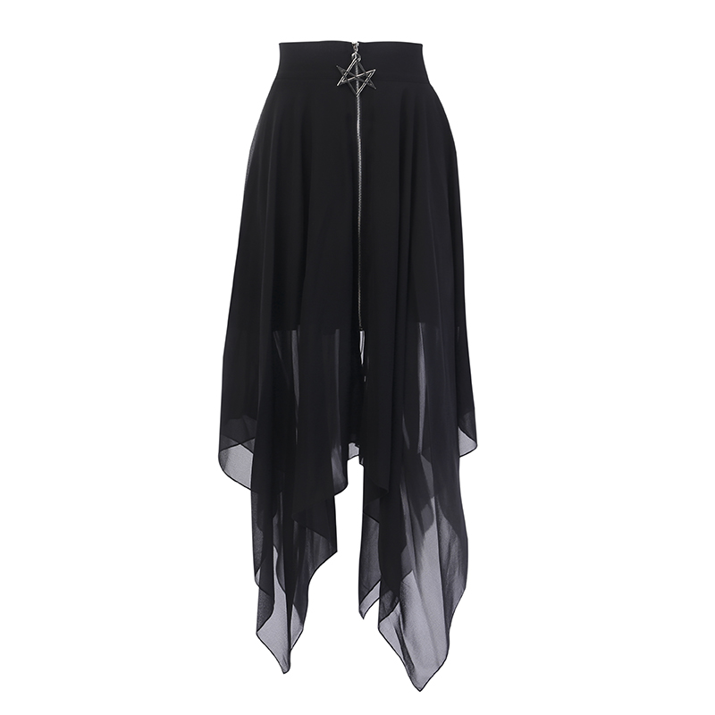 Harajuku Lolita Skirt with a Pentagram Zipper