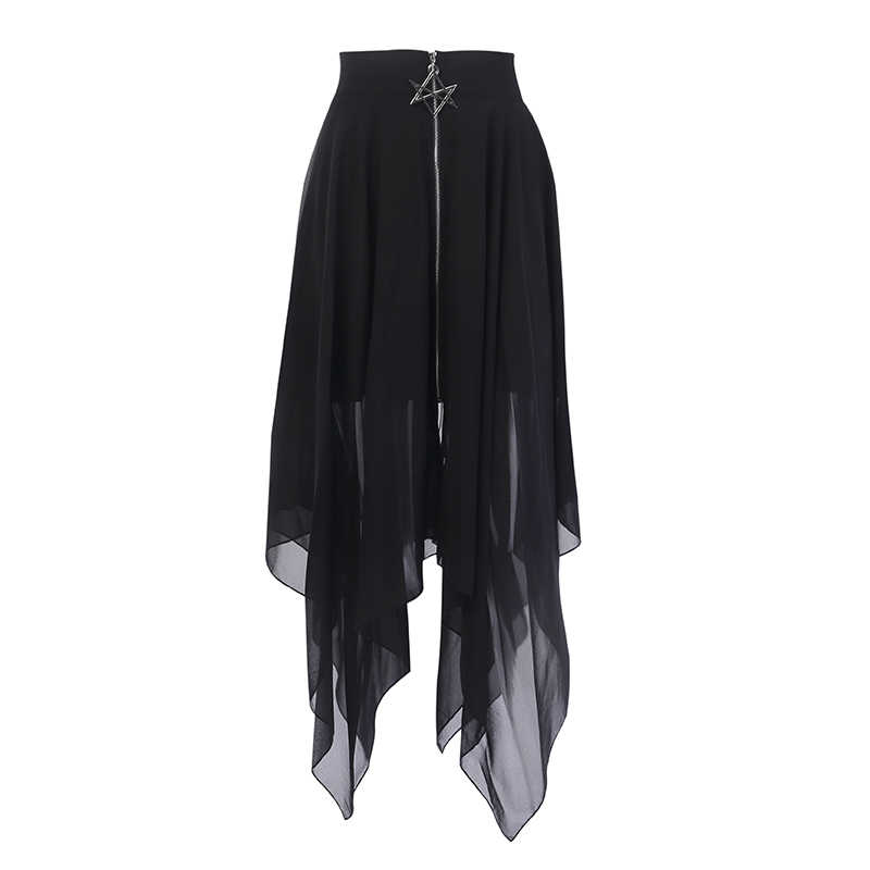 Summer Mesh Irregular Women Skirts Pentagram Zipper Black Punk Skirts Gothic Darkness Lady Skirt Casual Loose Streetwear Skirts