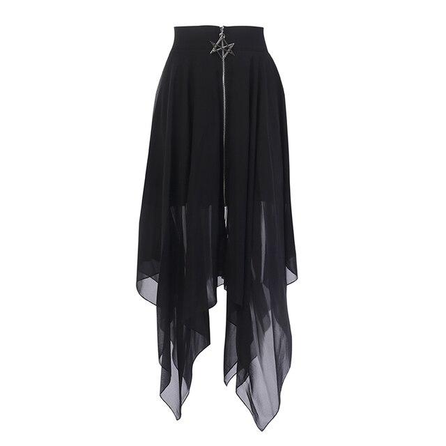 Gotycka spódnica Lato Mesh nieregularne kobiety spódnice gwiazda zamek czarny Punk spódnice Gothic ciemności spódnica damska na co dzień luźne spódnice Streetwear