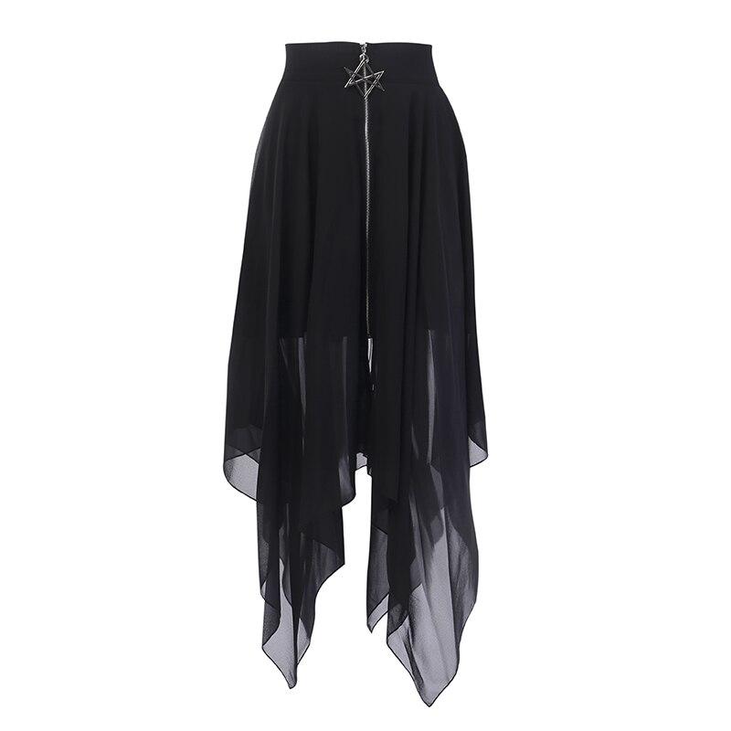 Summer Mesh Irregular Women Skirts Pentagram Zipper Black Punk Skirts Gothic Darkness Lady Skirt Casual Loose Streetwear Skirts-in Skirts from Women's Clothing