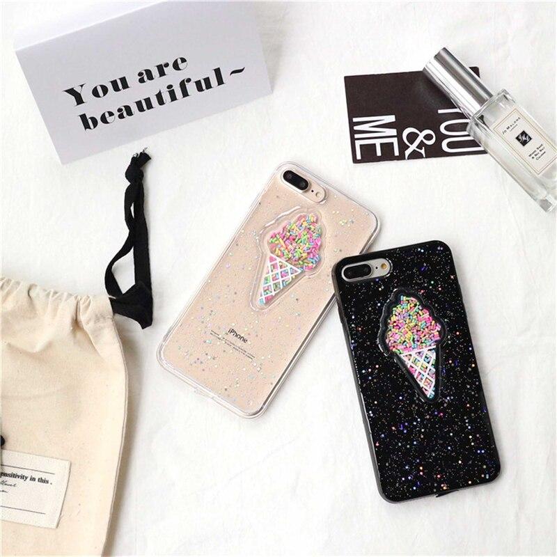 Shinny 3D ice cream glitter phone Cases For iphone X 7 7Plus Rainbow Sequins TPU case for iphone 6 6s 8 8Plus 6Plus